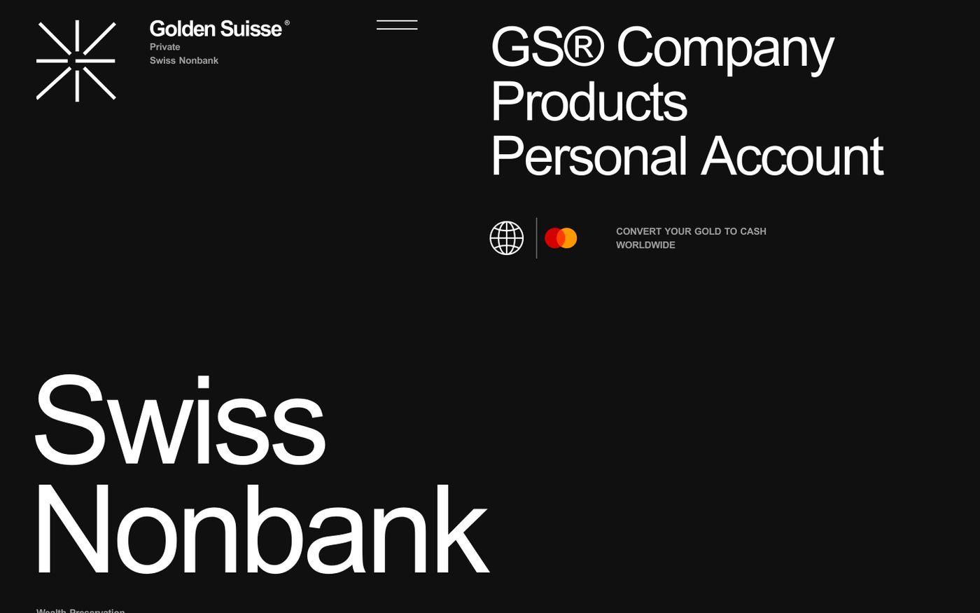 Screenshot of Golden Suisse website