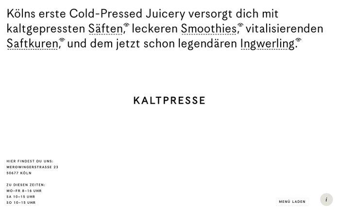 Screenshot of Kaltpresse ☺ Smoothie- und Saftbar