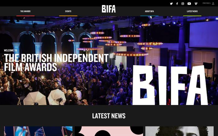Screenshot of BIFA · British Independent Film Awards