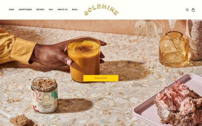 Screenshot of Goldmine Adaptogens website