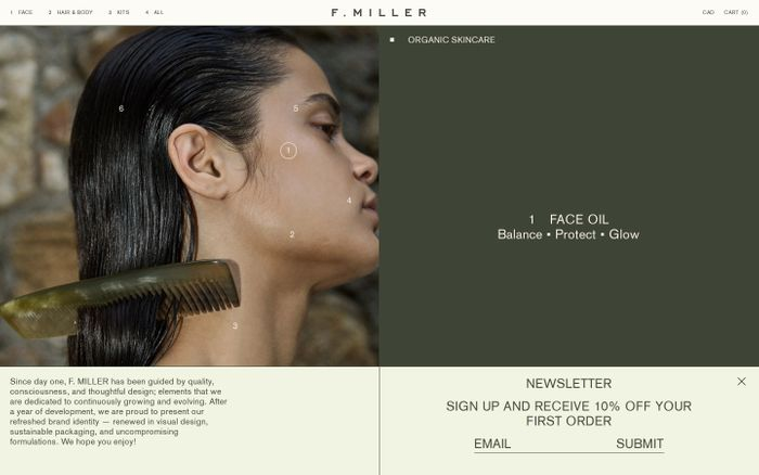 Screenshot of F. Miller Skincare website