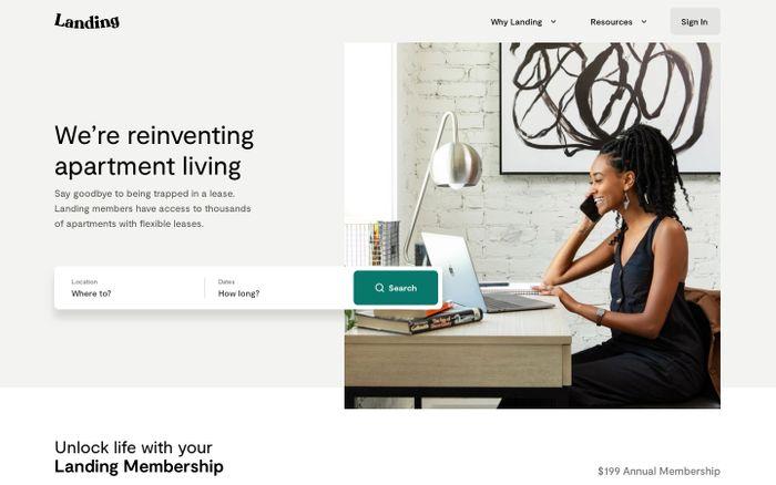Screenshot of Landing website