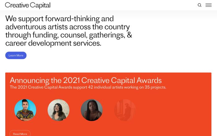 Screenshot of Creative Capital