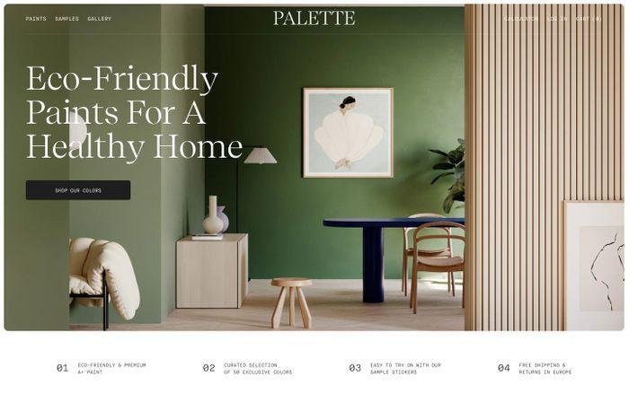 Screenshot of Palette website
