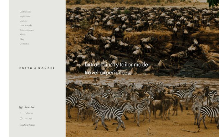 Screenshot of Luxury African Safari & African Travel Specialists | Forth and Wonder