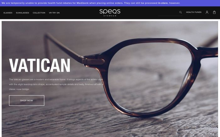 Screenshot of Buy Glasses Online & Sunglasses Australia - Contact Lenses & Eyewear | SPEQS