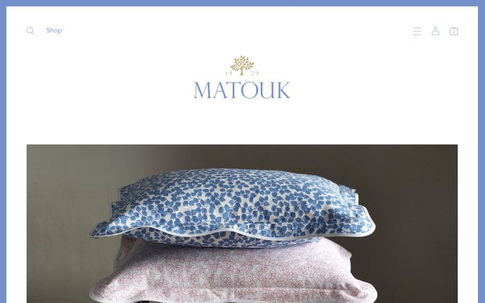 Screenshot of Matouk Luxury Linens