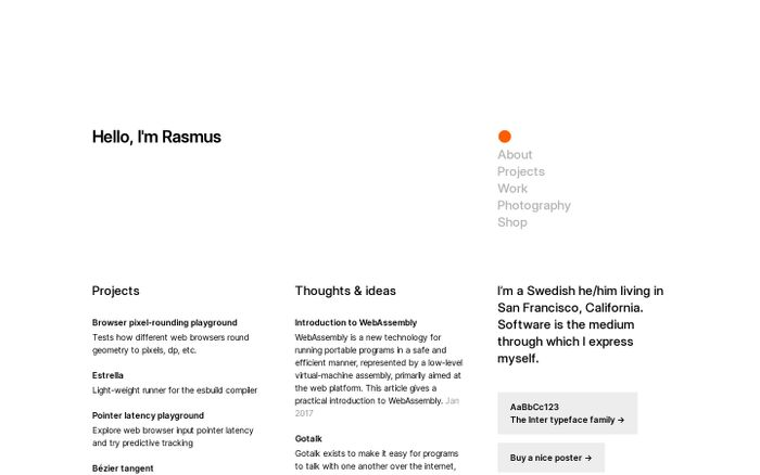 Screenshot of Rasmus Andersson website
