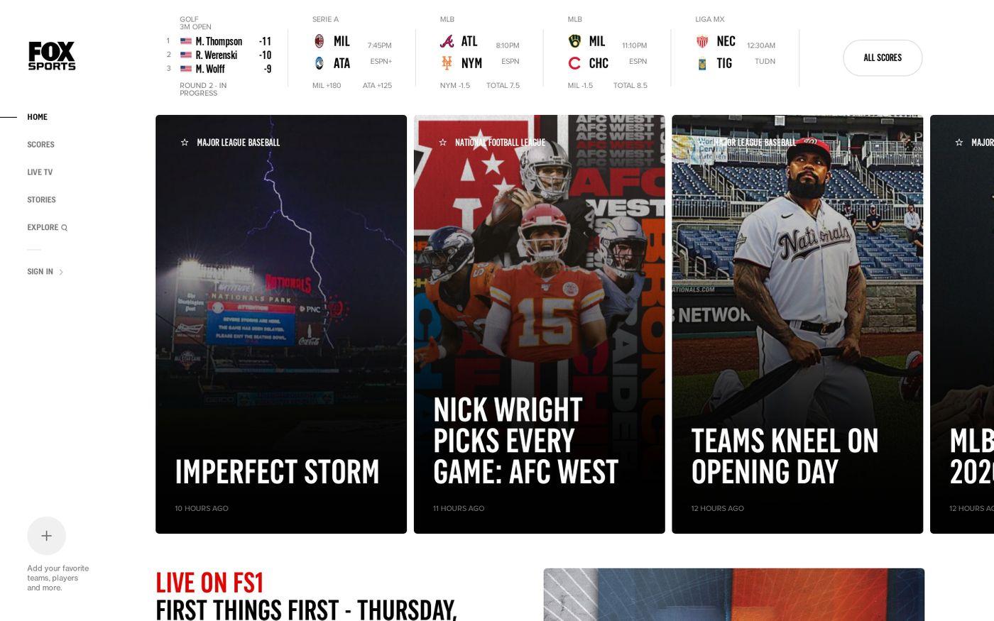 Screenshot of FOX Sports website