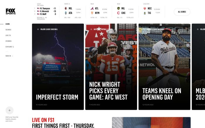 Screenshot of FOX Sports website