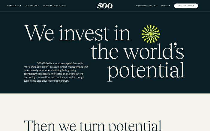 Screenshot of 500 Global website