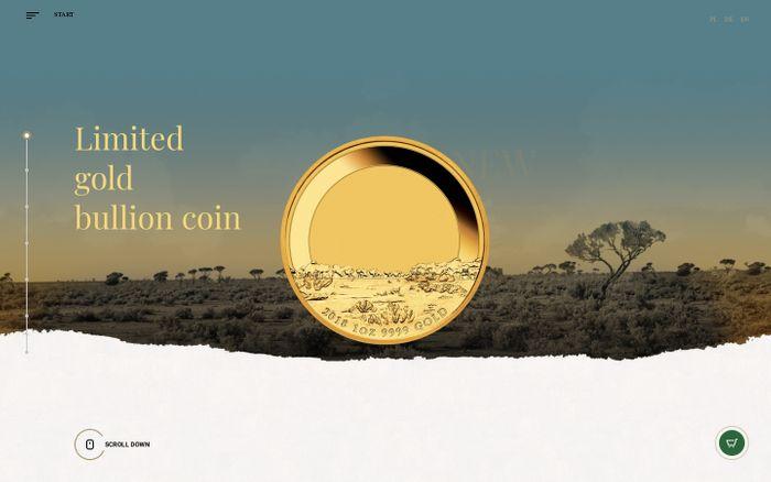 Screenshot of Unique gold bullion coin - Australian Emu Metal Market Europe