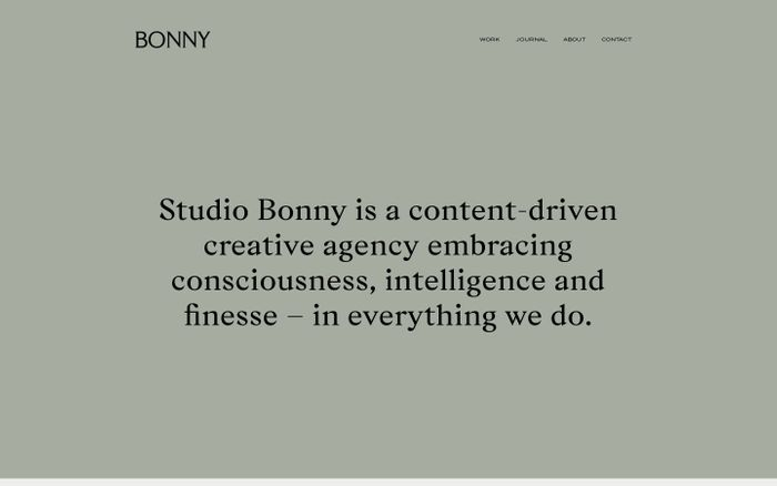 Screenshot of Studio Bonny website