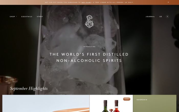 Screenshot of Non Alcoholic Drinks | The World's 1st Distilled Non Alcoholic Spirits | Seedlip website