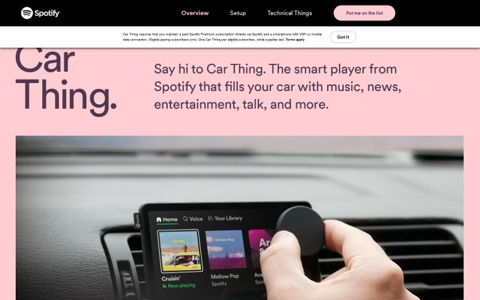 Screenshot of Car Thing from Spotify website