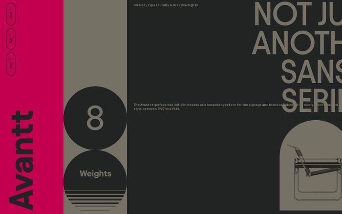 Screenshot of Avantt Typeface website
