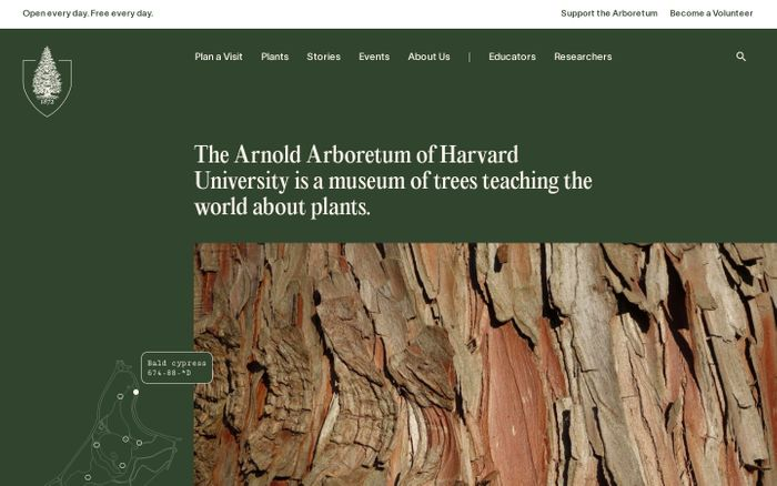 Screenshot of Arnold Arboretum website