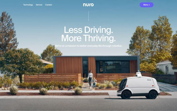 Screenshot of Nuro website