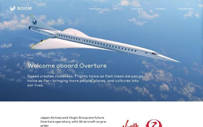 Screenshot of Boom - Supersonic Passenger Airplanes