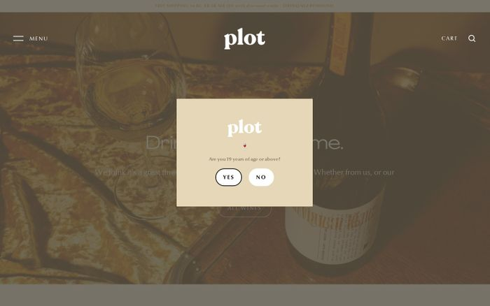 Screenshot of Plot Wines website