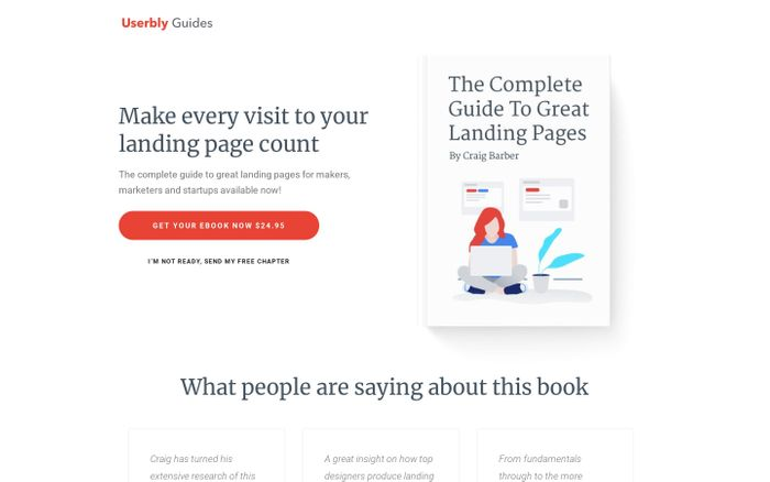 Screenshot of Userbly Guides - The Complete Guide To Great Landing Pages