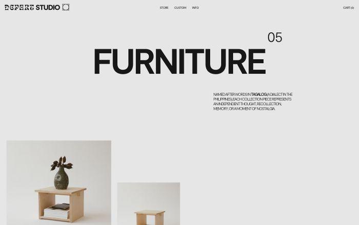 Screenshot of Depart Studio website