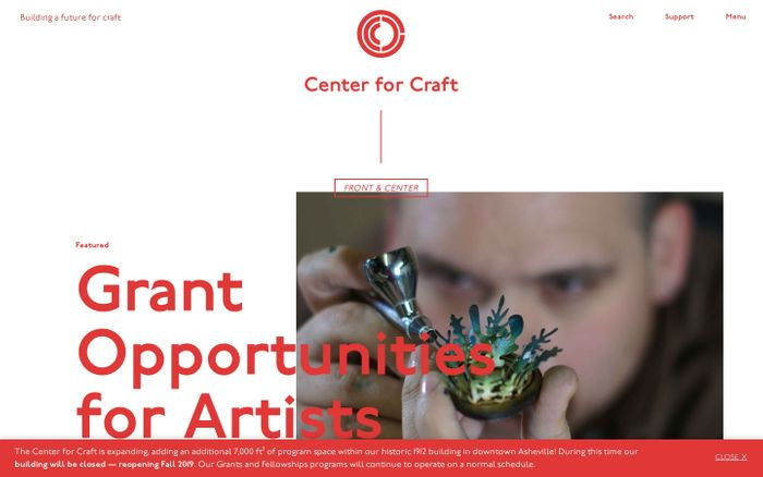 Screenshot of Center for Craft: Building a Future for Craft