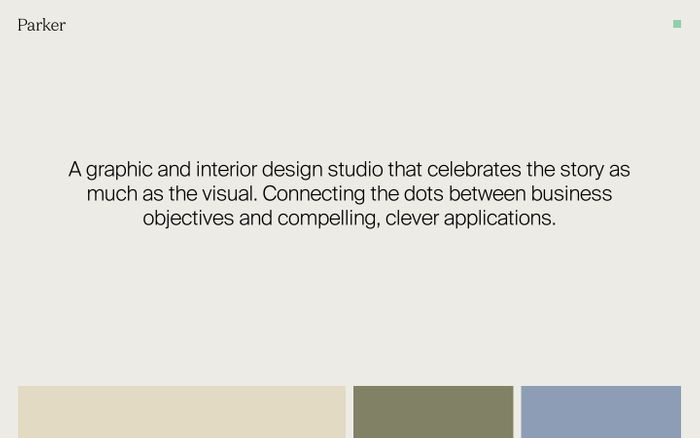 Screenshot of Design by Parker website