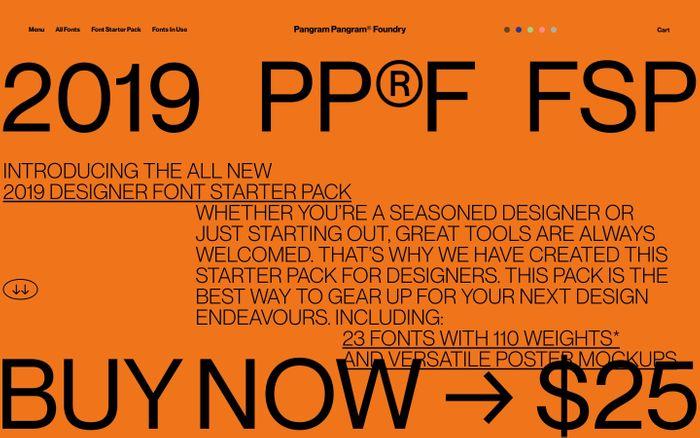 Screenshot of The 2019 Pangram Pangram® Designer Font Starter Pack – Pangram Pangram Foundry
