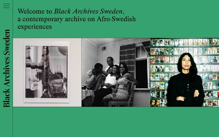 Screenshot of Black Archives Sweden website