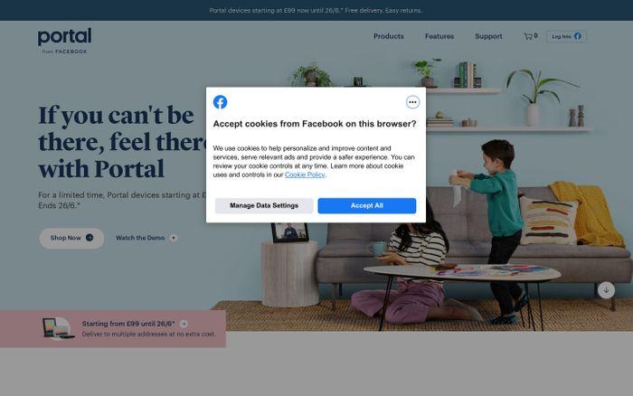 Screenshot of Portal from Facebook website