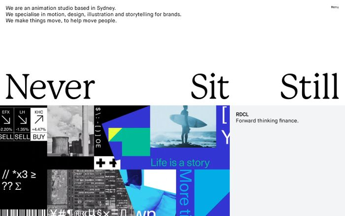 Screenshot of Never Sit Still website