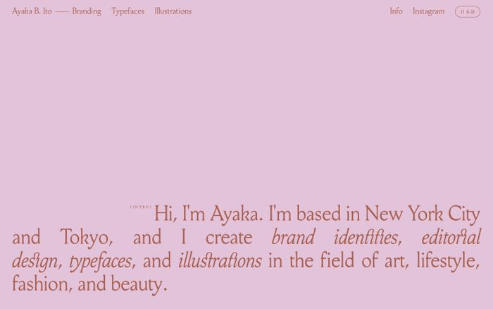 Screenshot of Ayaka B. Ito – Graphic Design (NYC • TYO)