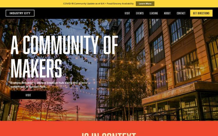 Screenshot of Industry City website