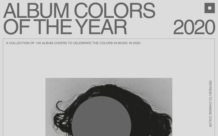 Screenshot of Album colors 2020 website