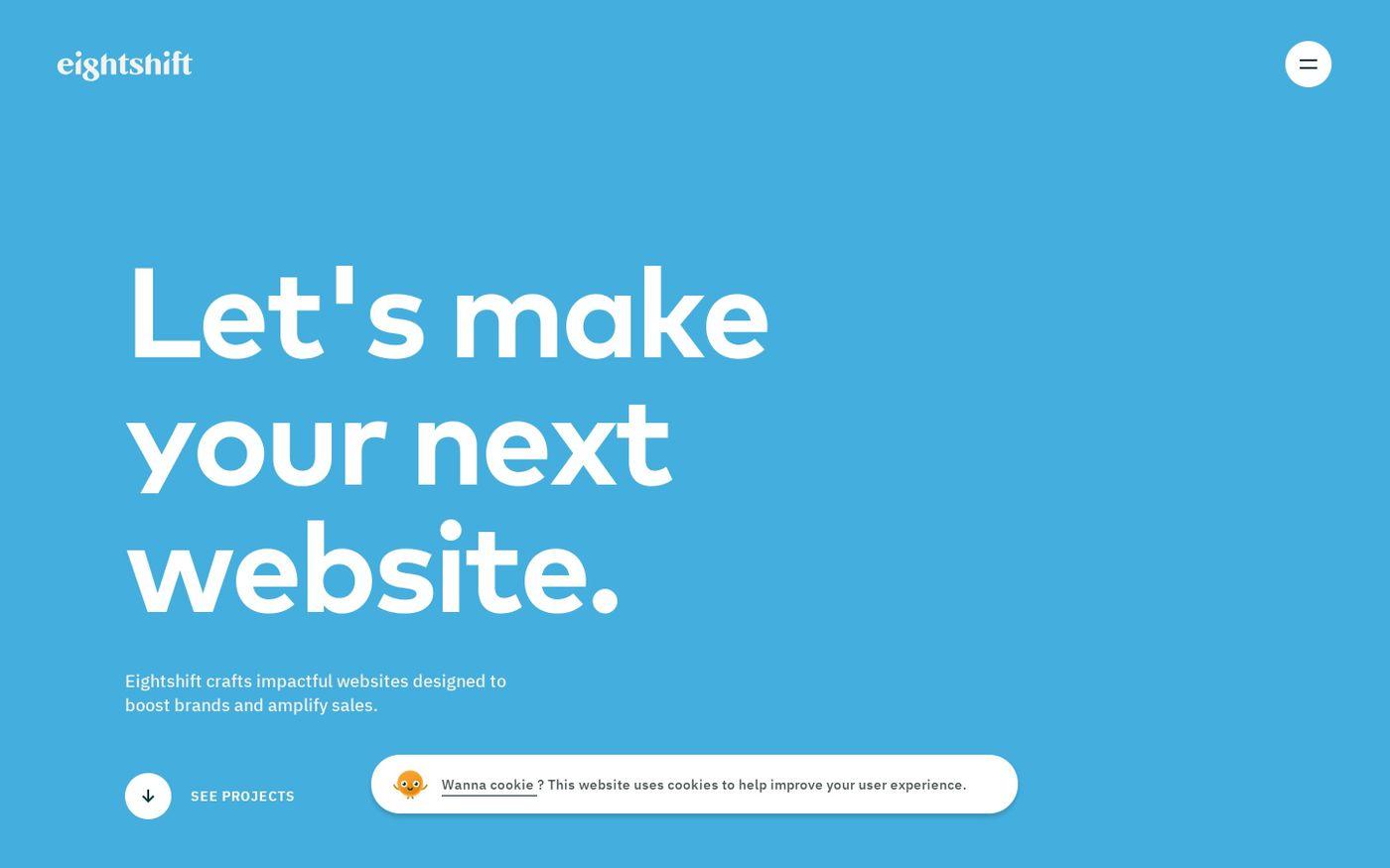 Screenshot of Eightshift website