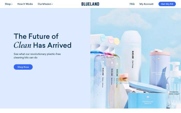Screenshot of Blueland website