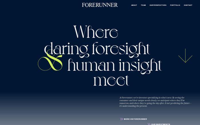 Screenshot of Forerunner Ventures website