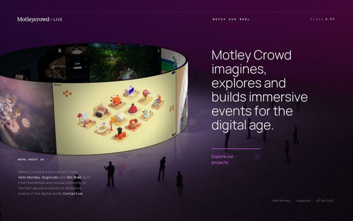 Screenshot of Motley Crowd website