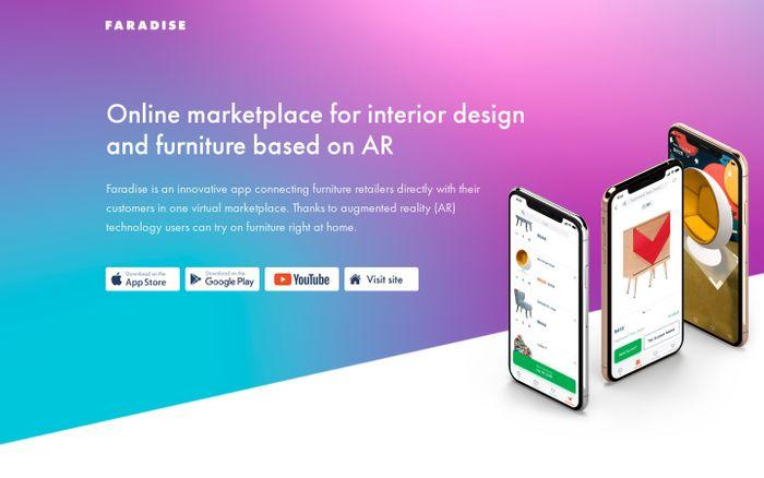 Screenshot of Faradise — furniture marketplace in AR