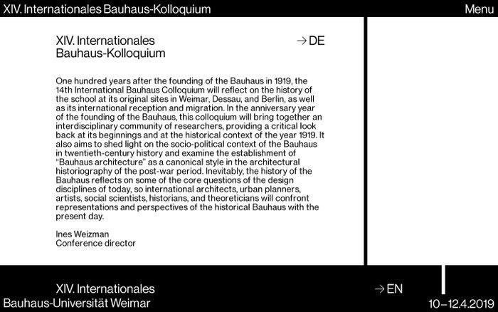 Screenshot of XIV. Internationales Bauhaus-Kolloquium – Bauhaus-Universität Weimar