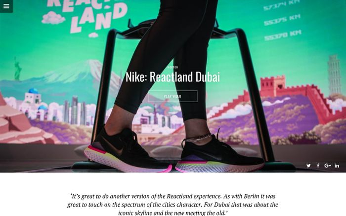 Screenshot of Nike Reactland Dubai | UNIT9