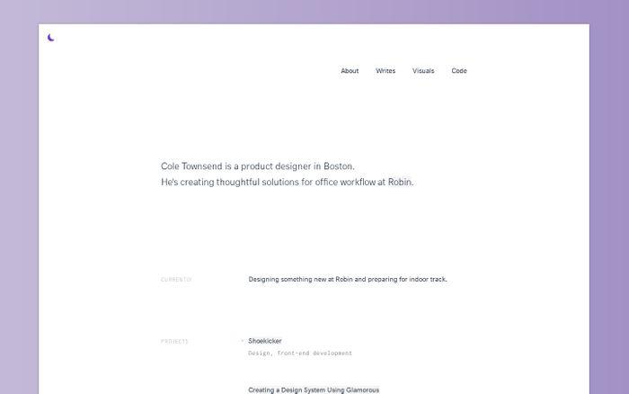 Screenshot of Portfolio of Cole Townsend website