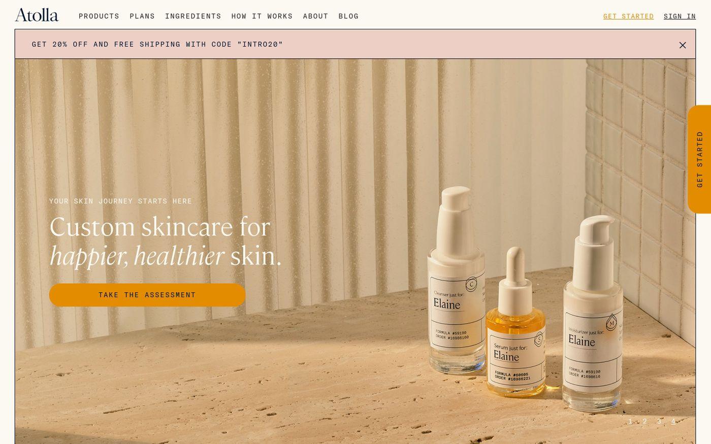 Screenshot of Atolla website