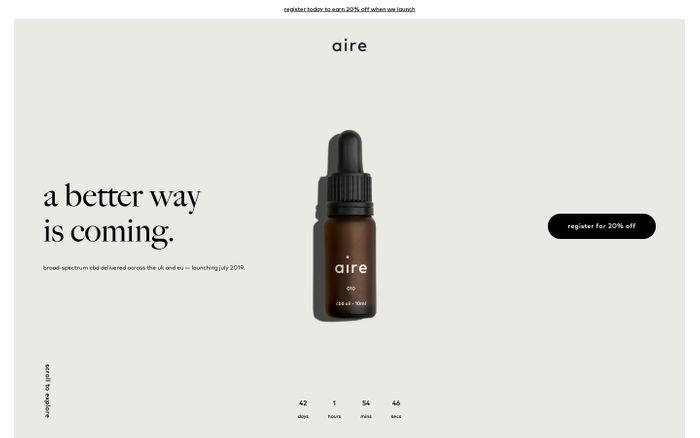 Screenshot of aire CBD — Premium CBD Oil delivered across the UK & Europe
