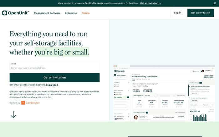 Screenshot of OpenUnit | The Modern Solution for Self-Storage Facilities