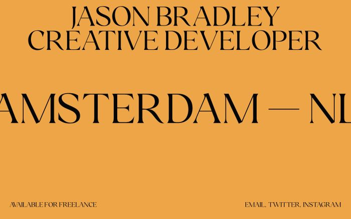 Screenshot of Jason Bradley — Freelance Creative Developer