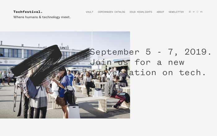 Screenshot of Techfestival - Where humans and technology meet. Sep 5 - 7, 2019.