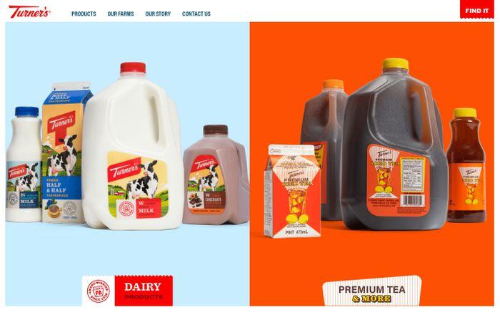 Screenshot of  Turner's Dairy website