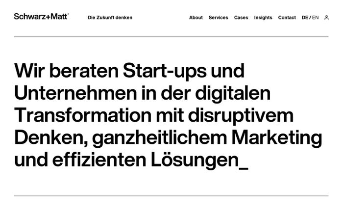 Screenshot of Schwarz+Matt - Gestern Werbeagentur. Heute Marketingberatung.
